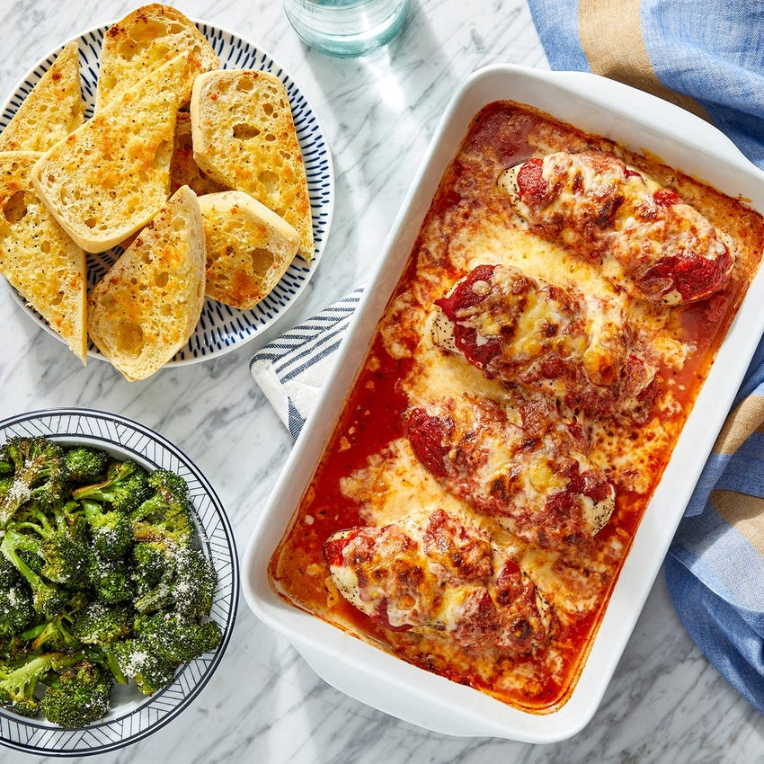 Oven-Baked Cheesy Chicken with Garlic Bread & Broccoli