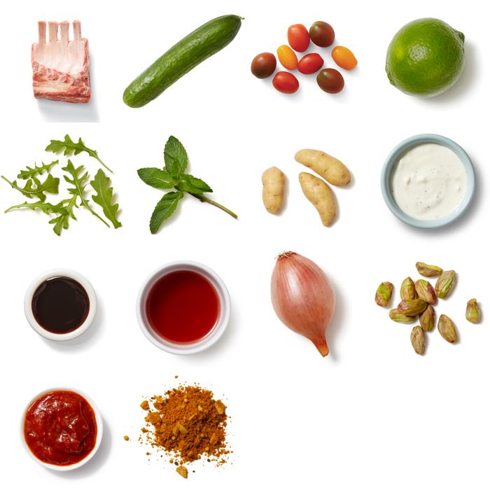Indian Lamb & Fresh Mint Sauce with Achaar-Dressed Potatoes & Arugula Salad