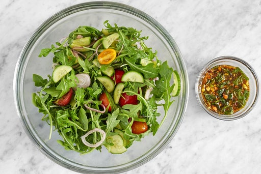 Finish the sauce & make the salad