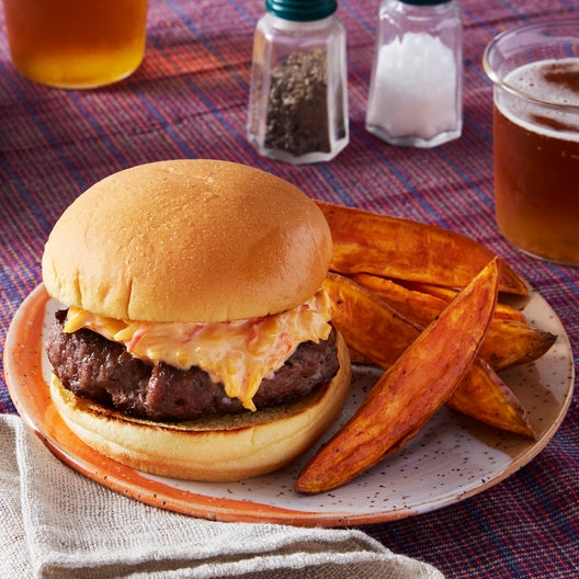 Pimento Cheeseburgers with Roasted Sweet Potato Wedges