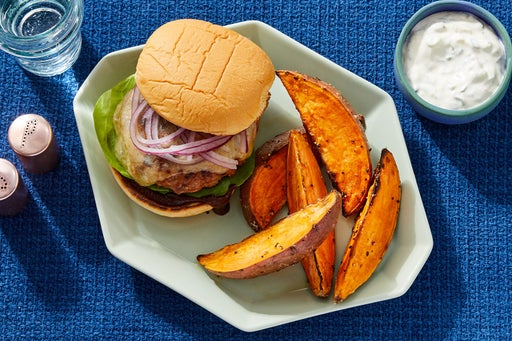 BBQ Turkey Burgers with Roasted Sweet Potato Wedges & Scallion Yogurt