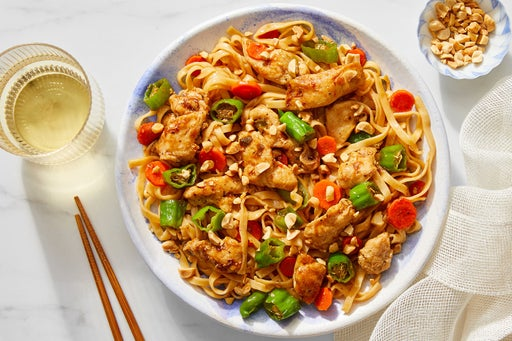 Chicken & Wonton Noodle Stir-Fry with Carrots & Shishito Peppers