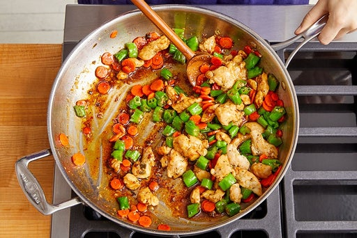 Cook the chicken, vegetables & sauce