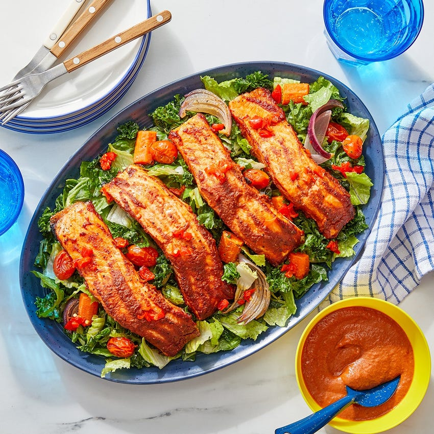 Smooth Salmon & Homemade BBQ Sauce with Roasted Vegetable, Romaine & Kale Salad