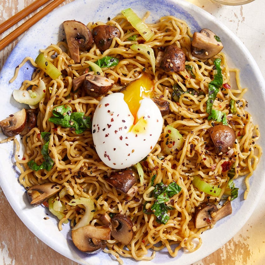Mushroom Mazemen with Bok Choy & Soft-Boiled Eggs