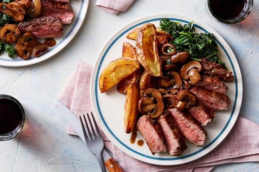 Seared Steaks & Roasted Potatoes with Balsamic-Glazed Mushrooms & Shallot