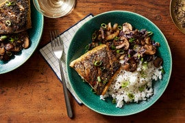 Barramundi & Mixed Mushrooms with Jasmine Rice & Napa Cabbage