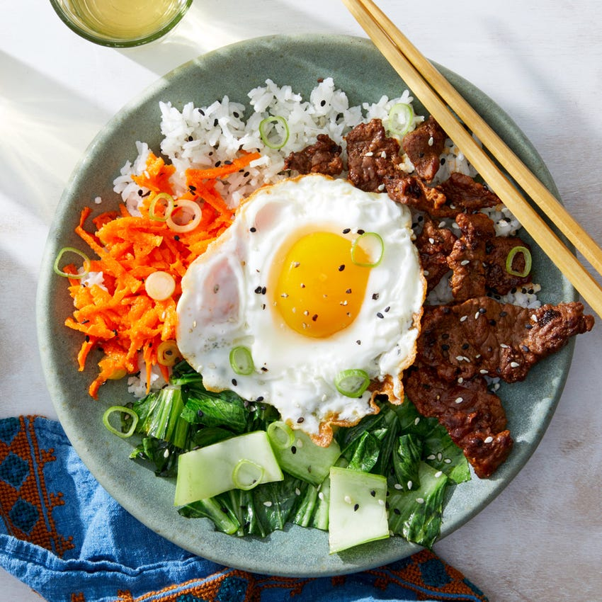 Korean Beef & Rice Bowls with Vegetables & Fried Eggs