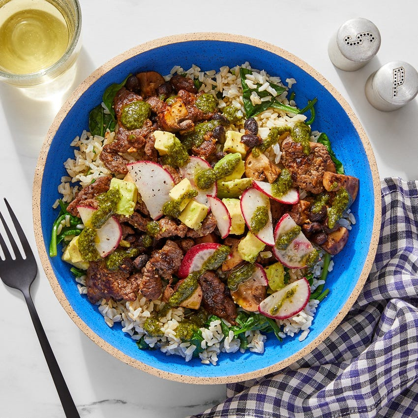 Cilantro Beef & Black Beans with Avocado & Brown Rice