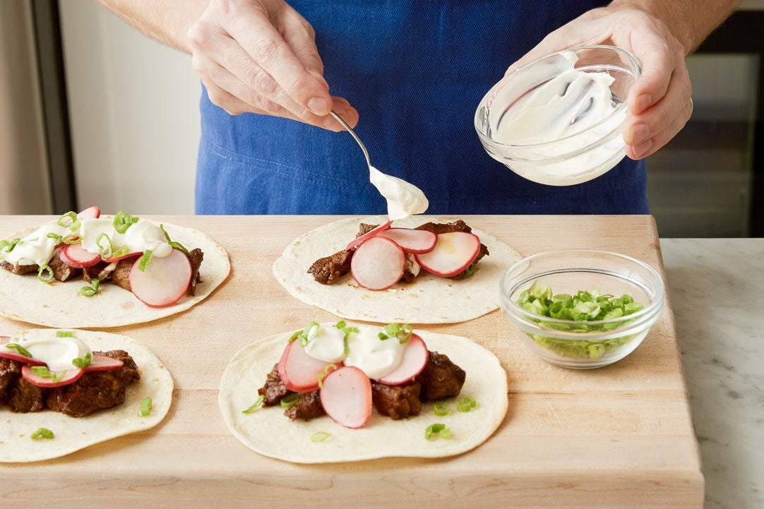 Make the lime sour cream & plate your dish: