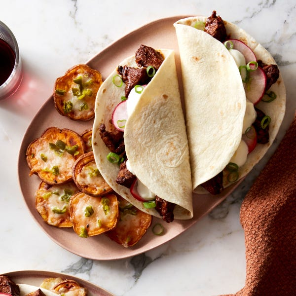 Ancho Beef Tacos & Spicy Sweet Potato with Monterey Jack Cheese & Pickled Jalapeño