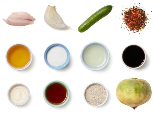 Seared Tilapia & Ponzu Mayo with Marinated Vegetables & Garlic Rice