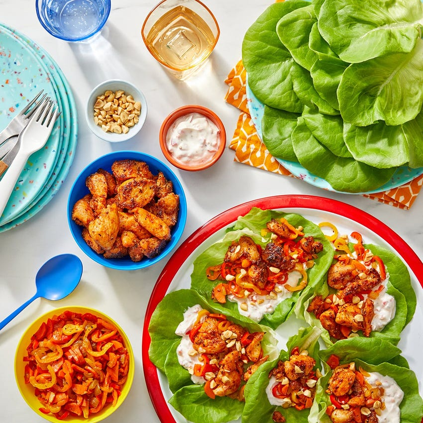 Cool Cajun Chicken Lettuce Cups with Pickled Pepper Yogurt & Peanuts