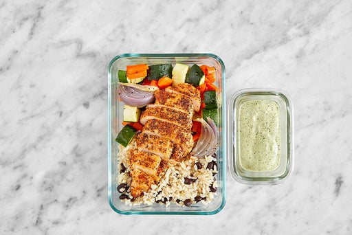 Assemble & Store the Mexican Chicken & Guacamole