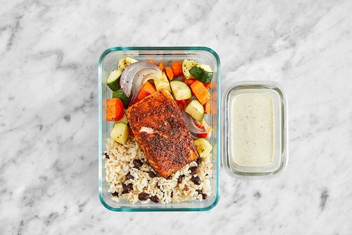 Assemble & Store the Roasted Salmon & Rice