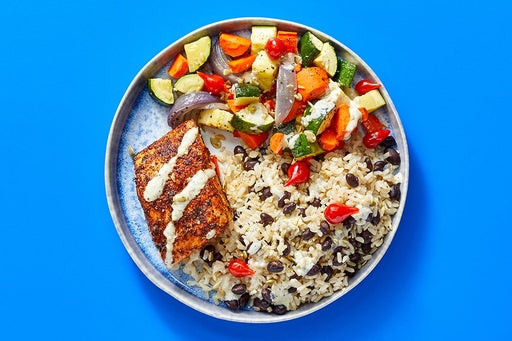 Finish & Serve the Roasted Salmon & Rice