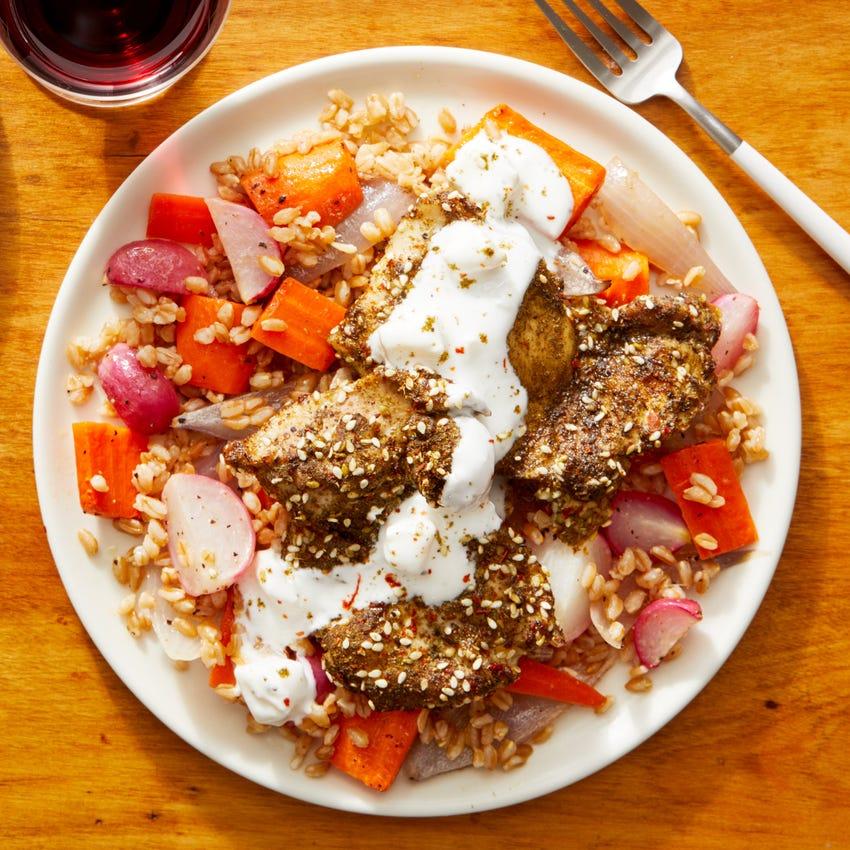 Za'atar-Roasted Chicken Thighs with Warm Farro Salad & Feta-Yogurt Dressing