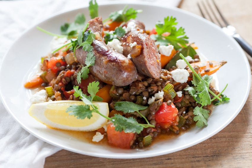 French Lentils  with Sautéed Summer Vegetables & Lamb Sausage
