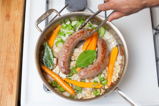 Cook the sausage & vegetables: