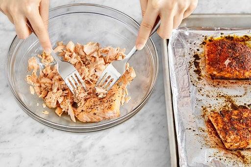 Roast, flake & dress the fish