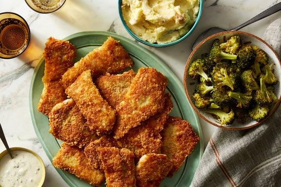 Recipe crispy wild alaskan pollock with garlic mashed for Alaska fish and chicken menu