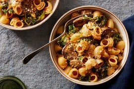 Mushroom & Goat Cheese Pasta with Garlic-Thyme Breadcrumbs