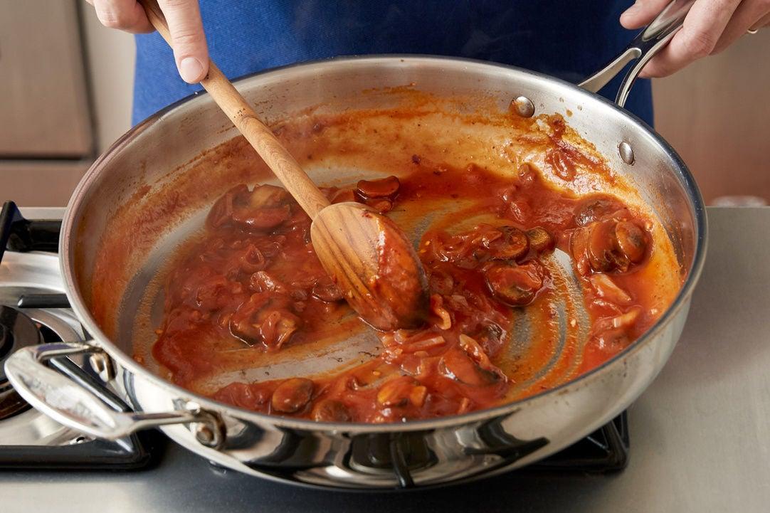 Finish the mushrooms & make the sauce: