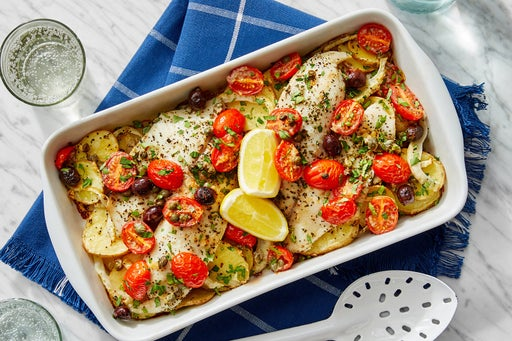 Provençal-Style Baked Tilapia with Potatoes & Tomato-Olive Topping