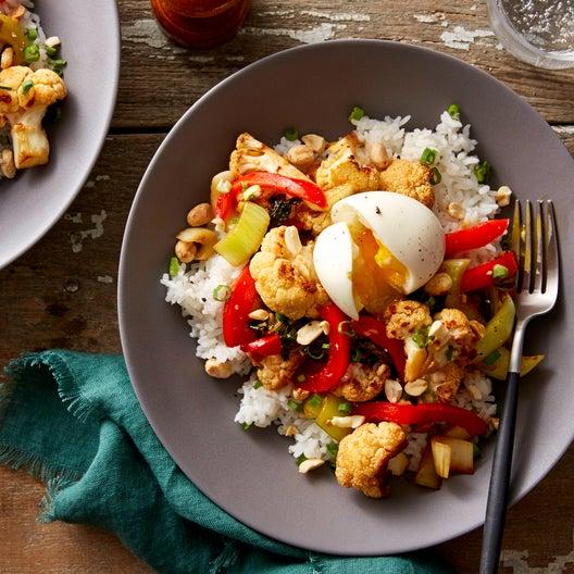Sweet & Sour Cauliflower with Bok Choy & Jasmine Rice