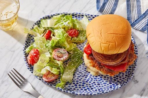 Pork Chorizo Burgers with Fig Mayo & Roasted Peppers