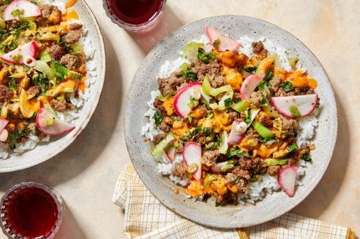 Korean-Style Beef & Gochujang Mayo with White Rice & Bok Choy