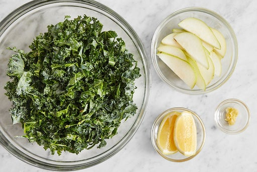 Prepare the remaining ingredients & marinate the kale