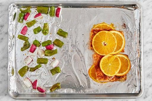 Roast the vegetables & fish