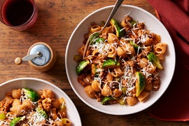 Pasta & Pork Bolognese with Brussels Sprouts & Grana Padano Cheese