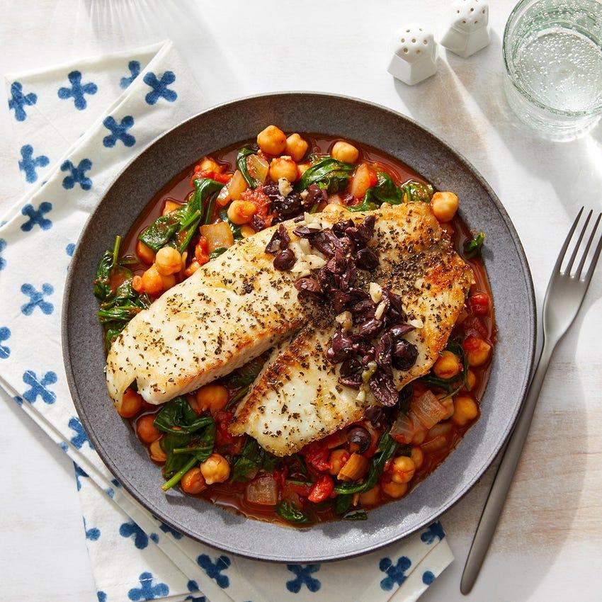 Garlic & Olive Tilapia over Stewed Chickpeas & Vegetables