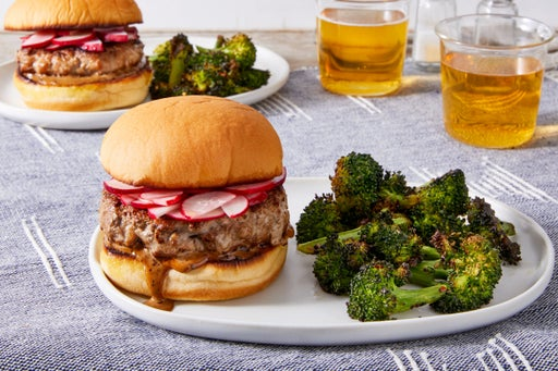 Ginger Pork Burgers with Black Bean Mayo & Roasted Broccoli