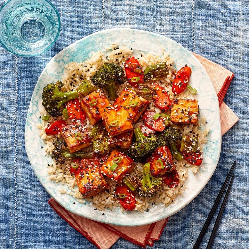 Ponzu-Sesame Tofu & Vegetables over Brown Rice