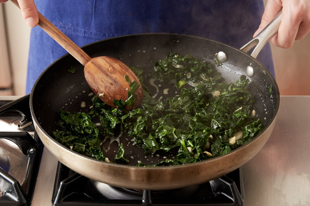 Prepare the remaining ingredients & cook the kale: