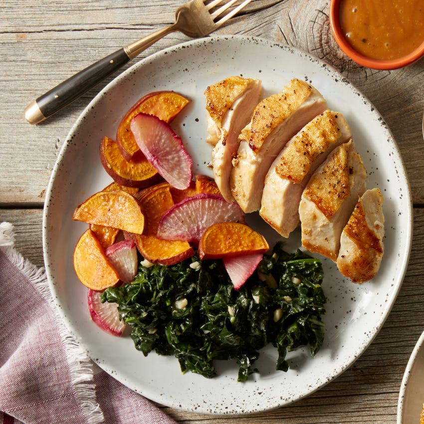 Seared Chicken with Miso Kale & Roasted Vegetables