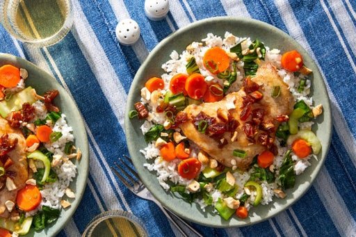 Soy-Glazed Chicken Thighs with Cashews, Dates & Bok Choy