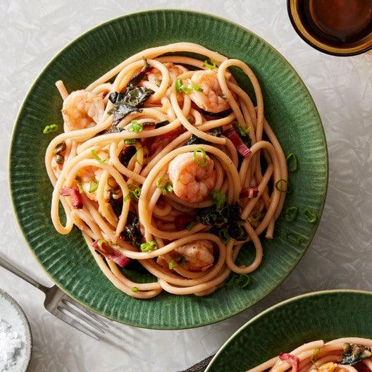 Shrimp & Bucatini Pasta with Chard & Yellow Tomato Sauce