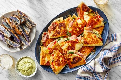 Cheesy Prosciutto & Pepper Quesadillas with Roasted Purple Potatoes & Guacamole