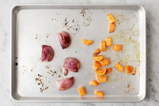 Roast the carrots & onion:
