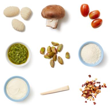 Pesto Gnocchi with Mushrooms & Pistachio Breadcrumbs