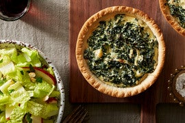Kale & Ricotta Tarts with Romaine, Apple, & Almond Salad