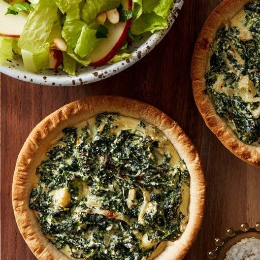 Kale & Ricotta Tarts with Romaine, Apple, & Almond Salad