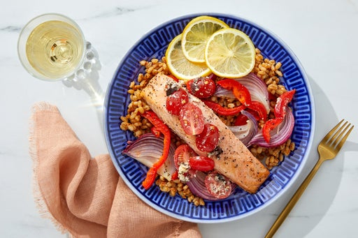 Lemon-Roasted Salmon & Vegetables with Romesco Barley & Marinated Feta
