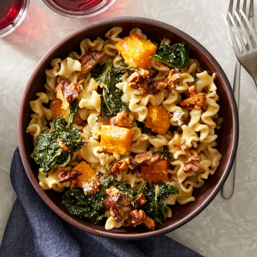 Butternut Squash Pasta with Kale & Brown Butter Walnuts