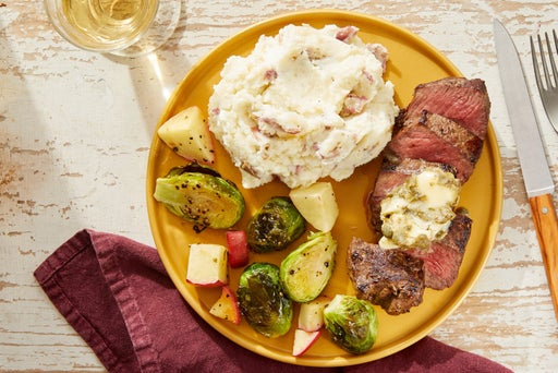 Caper Butter Steaks with Garlic Mashed Potatoes & Roasted Brussels Sprouts