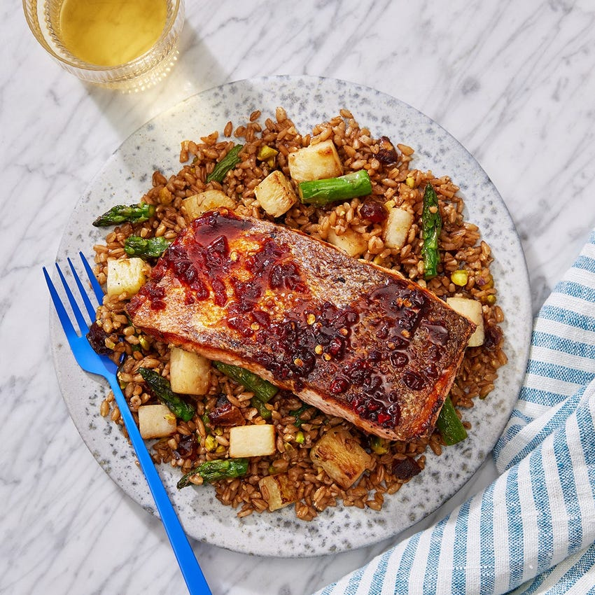 Pan-Seared Trout & Calabrian Chile Sauce with Asparagus, Farro & Date Salad